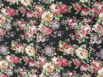 VINTAGE FLORAL BLACK - Fabric- 100% COTTON - Price Per Metre